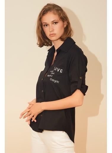 Reyon Baskılı Kadın Gömlek Siyah Siyah